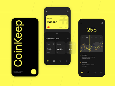 CoinKeep branding ui text minimal web design finance mobile