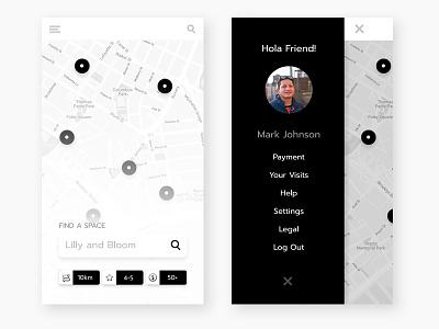 Map Search and Menu filter search menu design menu map marker map icon map