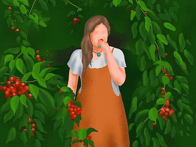 Caught red handed travel book garden nature playful girlingarden girl cherry procreate illustration
