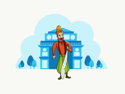 Gatekeeper indian gatekeeper gate style doodle fun freelance color cartoon adobedraw inpiration vector illustration
