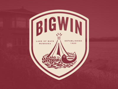 Bigwin Island Crest design crest logo muskoka clothing badge