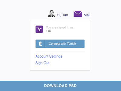 Connect with Tumblr yahoo tumblr login interface log-in psd photoshop ui psddd sign in