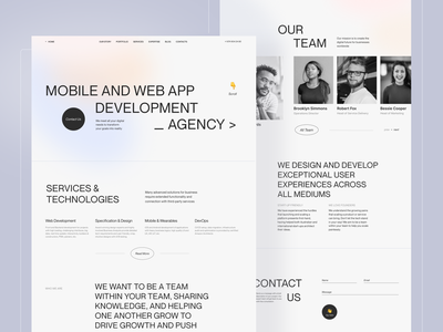 Corporate Website for Digital Agency agency website design typography website minimal corporate team contact us home screen web ui