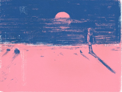 Pink Sunset pink beach sunset painting illustration