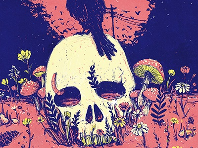 Thee Oh Sees poster blue pink mushroom glowers creepy raven skull illustration illustrated poster thee oh sees