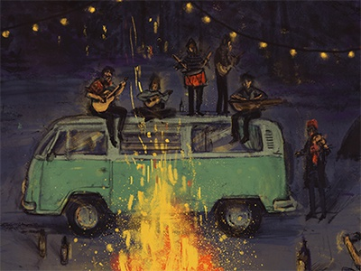 Osog Poster mood happy night fun van road trip campfire music band osog illustrated poster