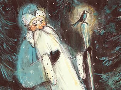 Detail #5 snow winter children illustration illustration