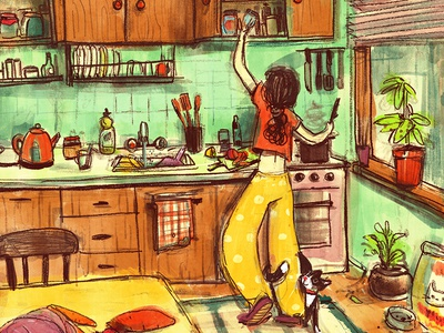 Cooking up something good love cooking cat illustraion kitchen cook cooking