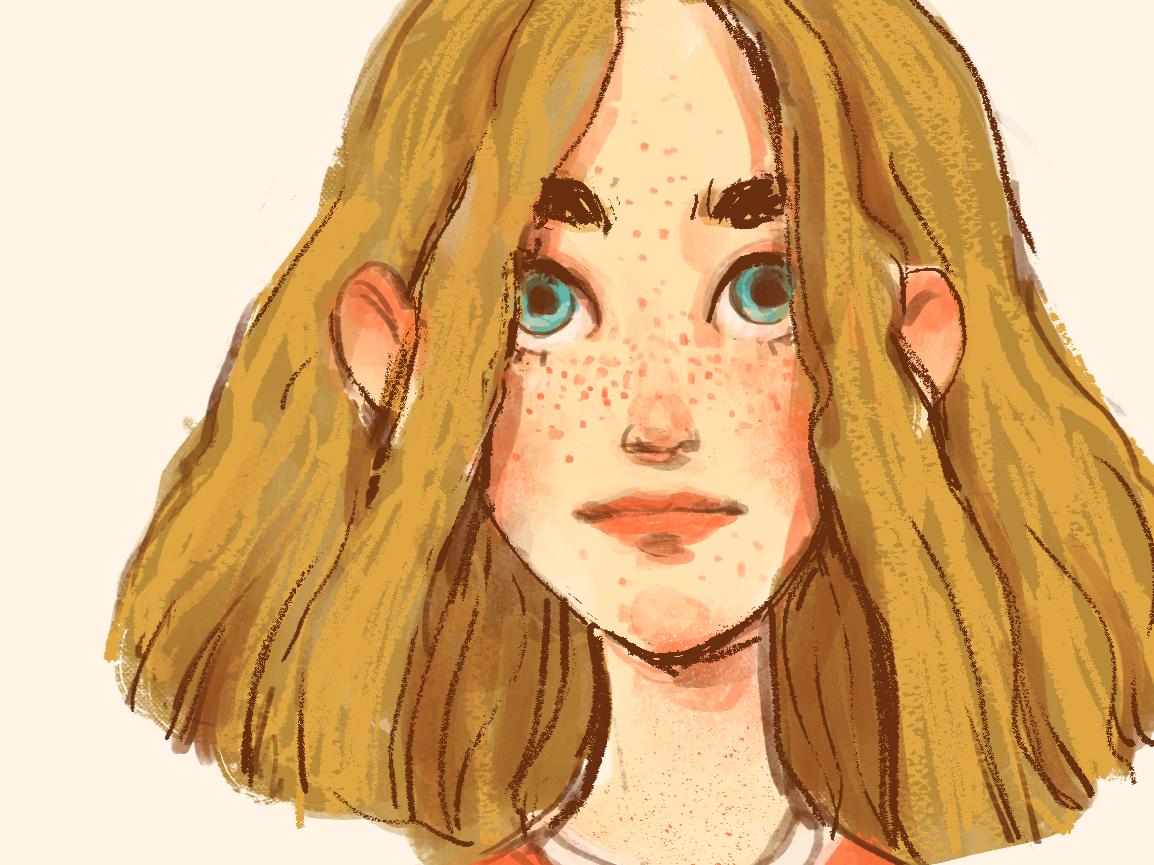Petra illustration freckles girl illustration girl character