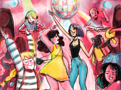 Disco Dancing disco ball disco dancing girls pink painting fun dance party illustration