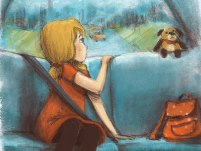 Moving Away emotional illustration illustration art illustraion car ride moving away