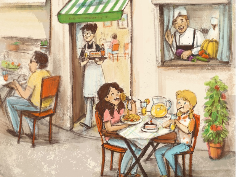 Friends Dining art of illustration cute illustration girl friends children book illustration childrens illustration