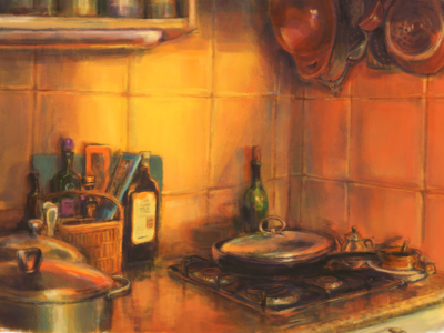 Kitchen study digital painting digital art painting art study kitchen still life