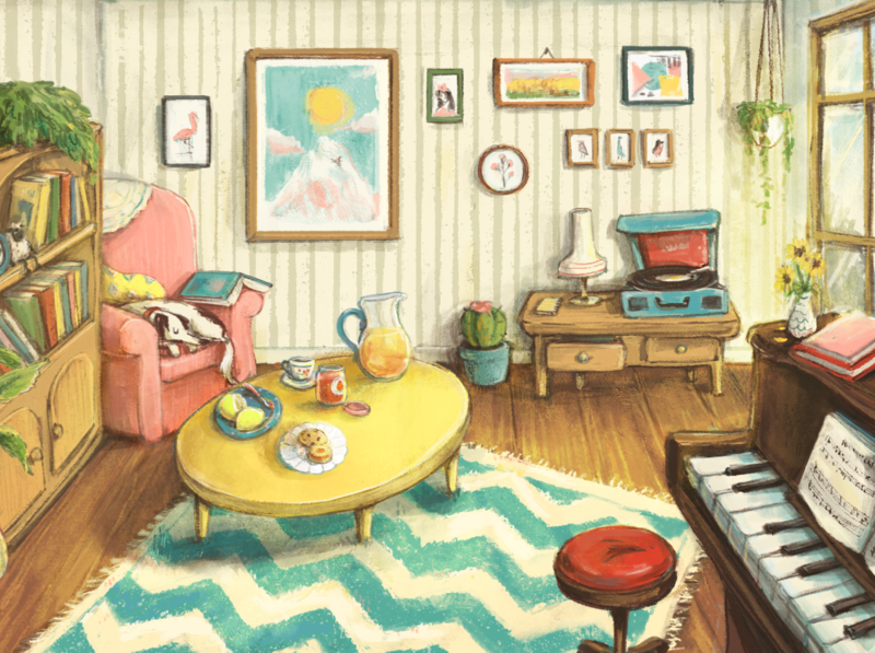 Cosy Apartment nostalgia nostalgic illustration children illustration rooms piano dog house decor room illustration room painting illustration