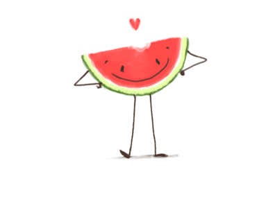 Watermelon digital character illustration cute