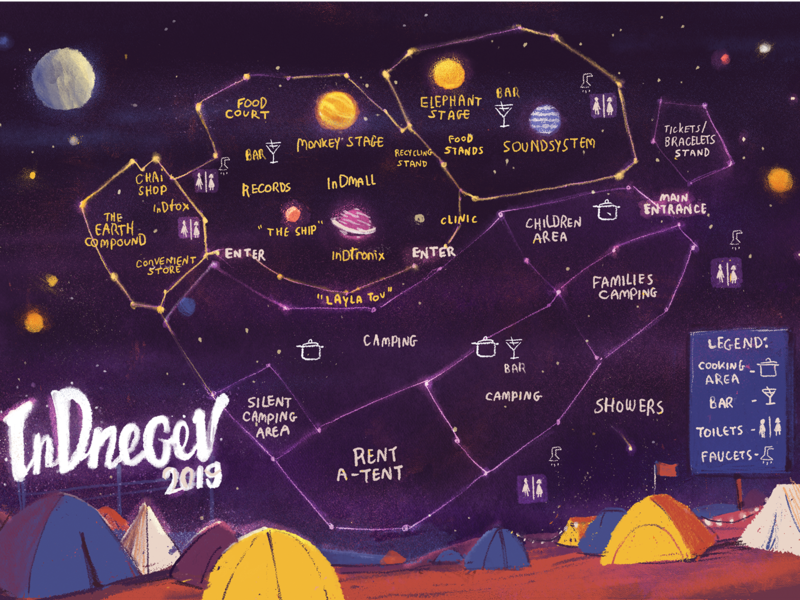 InDnegev 2019 Map camping night festival map design map illustration graphicdesign illustration