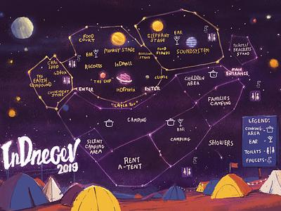InDnegev 2019 Map camping night festival map design map illustration graphicdesign illustration
