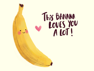 Banana Love procreate ipadpro illustraion love cute fruit cute illustration cute banana