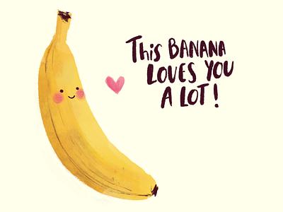 Banana Love procreate ipadpro illustraion love cute fruit cute illustration cute banana