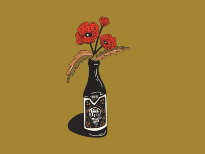 Beer & Flowers hand drawn design illustration