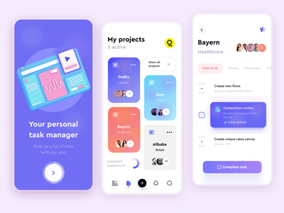 App Animation – Task Management loop animation app ui interface 2d app animation application interaction design mobile ui after effects shape animation
