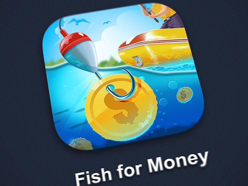 Fish For Money icon northwood river hook fisher boat coin money water fish