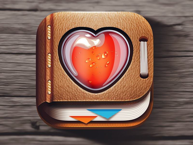 """Book of health """"remedy"""" leather ios icon northwood heart remedy health book"""