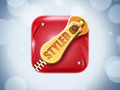 Styled 3d northwood zipper golden red leather icon icon ios styled