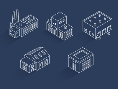 Isometric buildings Icons house 3d place market warehouse laboratory white outline office buildings isometric icons