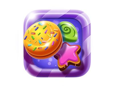 Cookie Crunch  Game icon star northwood game magic match lollipop bun sweet candy ios icon