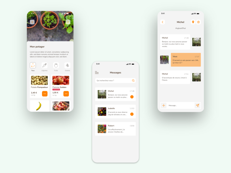 Vegetable garden app ux app ui mobile ui app design ui design mobile app design