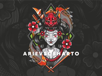 Geisha and The Koi Fish japan japanese tees clothing apparel illustration tshirt oni demon fish koi geisha