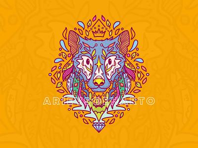 Nature Wolf apparel clothing doodle merchandise tees tshirt adobe illustrator vector illustration wolf nature