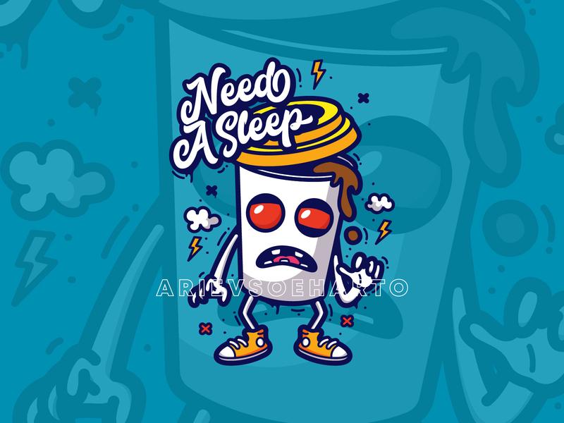 Need a sleep clothing apparel sticker tshirt merch merchandise character grafitti illustration deadline coffee