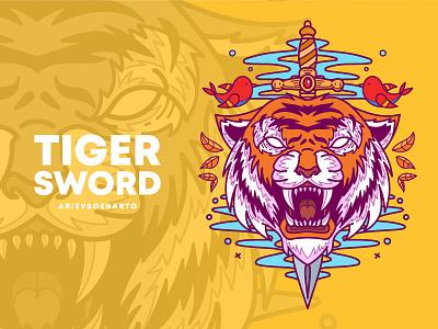 Tiger Sword clothing apparel t-shirt tshirt tees wild animal illustration sword tiger