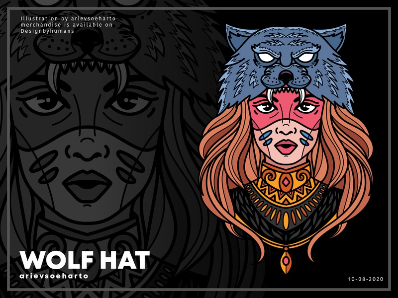 Wolf Hat apparel clothing tees tshirt merchandise tribe animal hat wolf hat wolf vector illustration