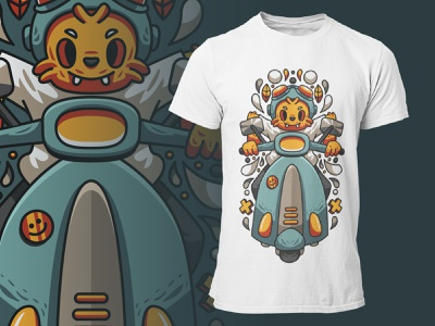 Scooter Riders apparel clothing illustration tees tshirt anthropomorphic animal riders scooter cat