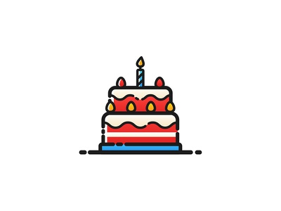 Birthday Cake - 13 Oct is mine outline illustration vectober vector cake birthday