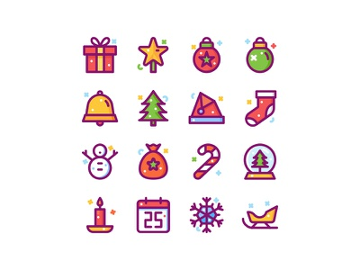 Christmas Icon Pack candy holiday star box gift candle snowflakes snowman shocks bell santa claus christmas