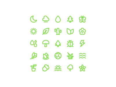 Nature Elements thick bold line nature icon vector