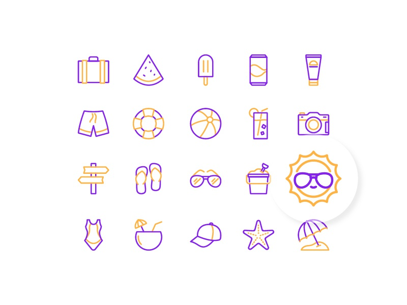 Summertime iconfinder icon set iconography summertime summer duotone outline line vector illustration icon