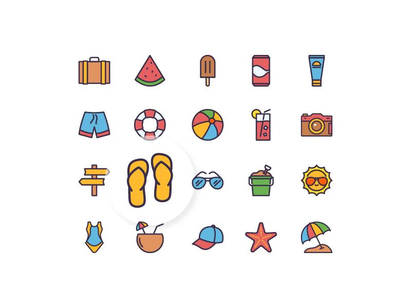 Summertime icon illustration vector line outline duotone summer summertime iconography icon set iconfinder