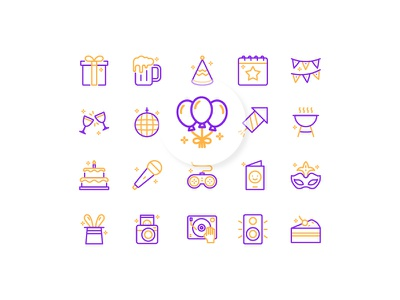 Let's Party duotone outline line ui interface party iconography icon design icon set icon