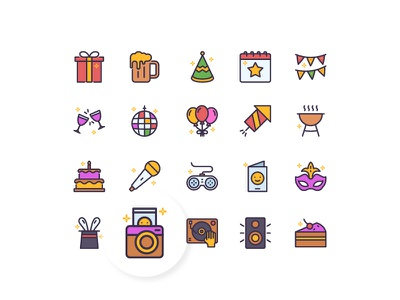 Let's Party icon icon set icon design iconography party interface ui line outline duotone