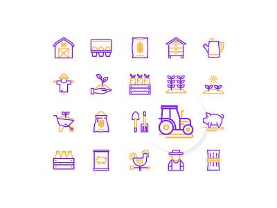 Farm Icons gardening farming farm icon icon set icon design iconography interface ui line outline duotone