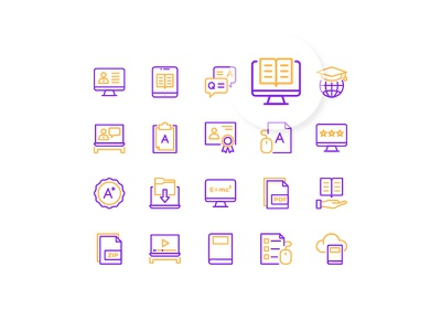 E-learning icons duotone outline elearning learning interface icon design iconography icon set icon