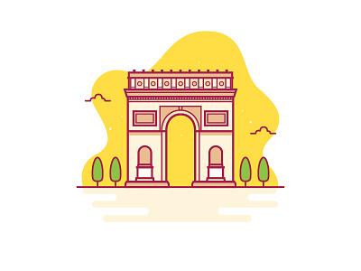 Arc De Triomphe france vector illustration building icon vector