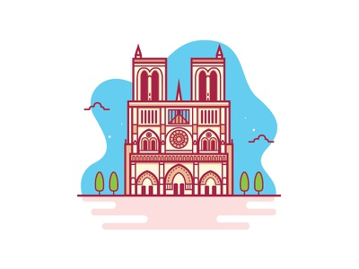 Notre Dame vector illustration building icon cathedral building landmark france notredame vector