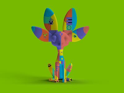 Magic Realism: Conejita mascot design magical nvidia design bauhaus 3d art conejita alebrijes mexico nvidia design minimal illustration