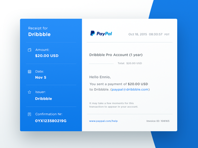 Email Receipt - Day 017 #dailyui finance payment report financial paypal check email receipt dailyui